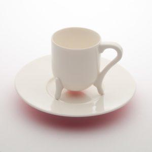 Tazzina da caffè c/piattino in porcellana bianca